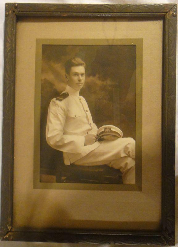 Portrait Photo Of WWI Ensign in White Uniform