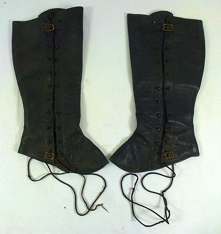 Japanese Army Officer Black Leather Gaiters