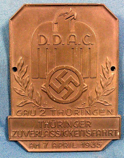 1935 DDAC Member Road Event Participation Plaque