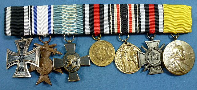 WWI Imperial German Seven Place Medal Bar
