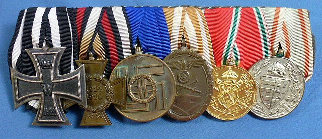 WWI / Third Reich Six Place Medal Bar with SS Medal