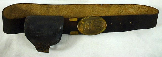 Civil War Brown Buff Leather Belt with Cap Box