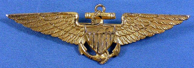 Full Size Sterling 1930's Naval Aviator Pin Back Wing