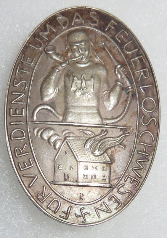 Prussian Firefighter Service Medal .900 Silver