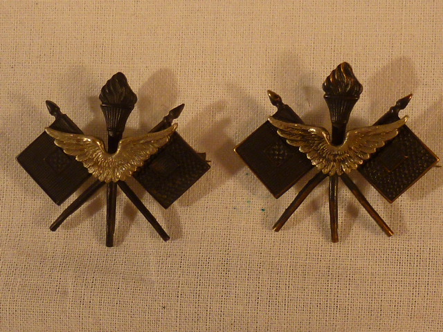 Pair WWI Air Service Officer Collar Insignia