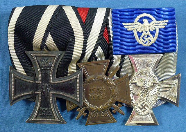 WWI Imperial / Third Reich 3 Place Police Medal Bar
