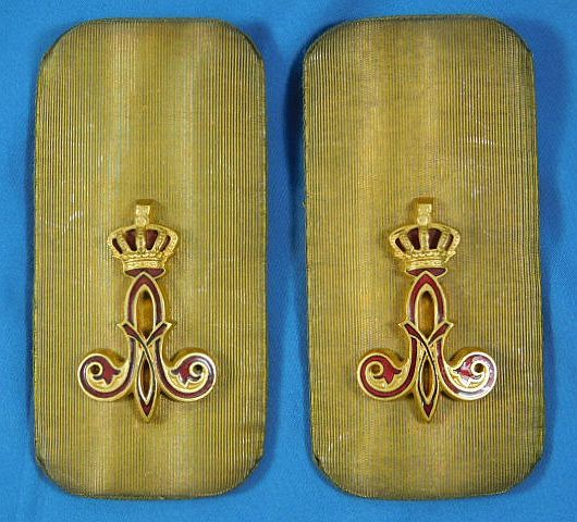 Pair WWI Era Belgium Army Officer Shoulder Boards