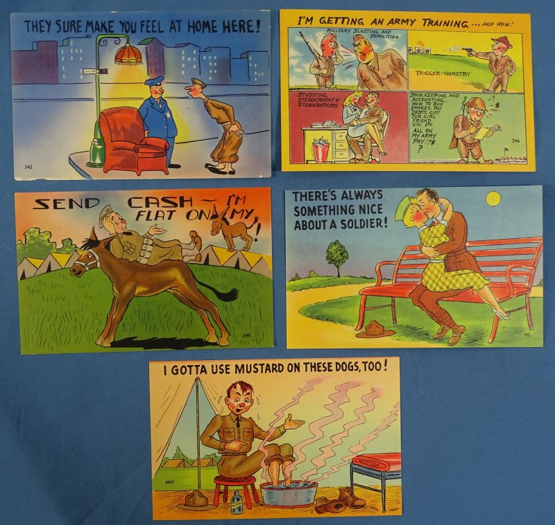 5 Different Early WWII Comical Military Postcards