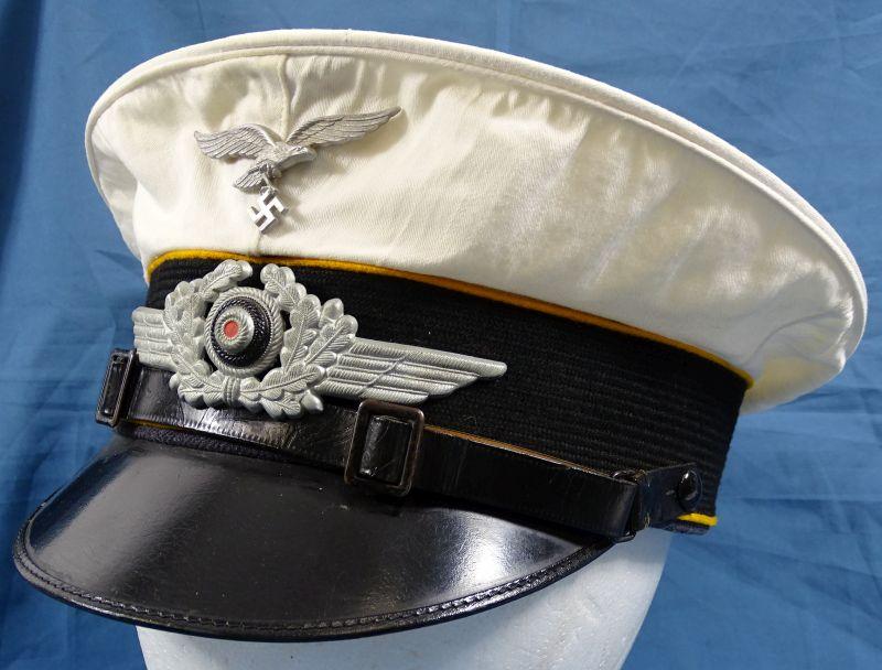 WWII Luftwaffe EM / NCO Flight Personnel White Top Visor Cap