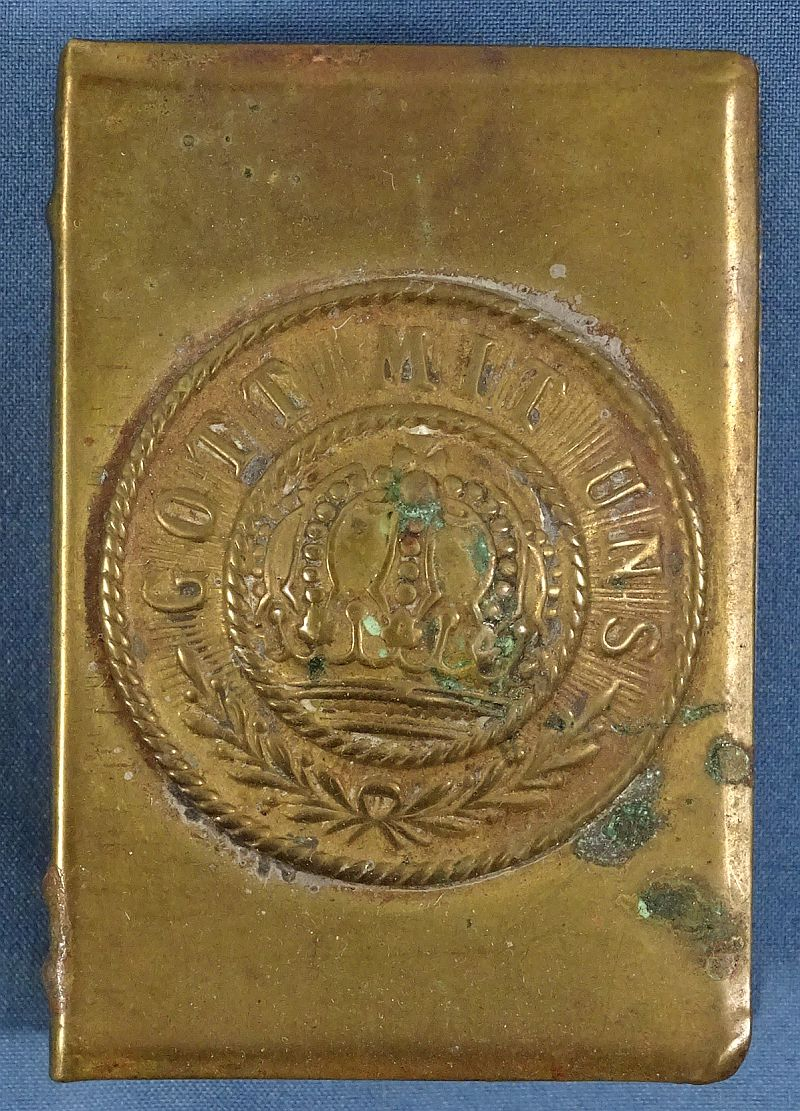 WWI Trench Art Brass Gott Mit Uns Matchbox Cover