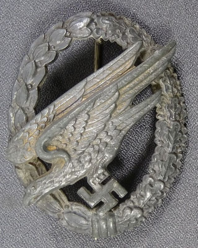 A Well Used Luftwaffe Paratrooper Badge by B&N L
